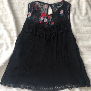 Forever 21 Tops - Lace and tassel tank
